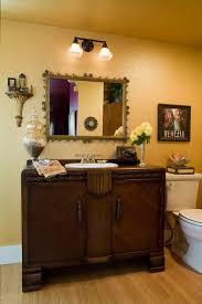 Oil Rubbed Bronze Vanity Lighting Eclectic Powder Room With Wood Counters By Charmaine Manley