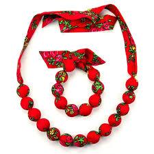 bead necklace wood images Polish art center polish folk cloth necklace and bracelet set jpg