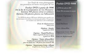 tarif photographe mariage tarifs forfait dvd prestation photographie mariage
