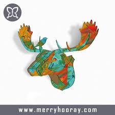 2016 3d wood art crafts mdf animal head christmas decorative ideas