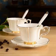fancy coffee cups european style bone china coffee tea cup and saucer spoon set