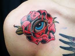 bleeding eye red rose tattoo design photos pictures and