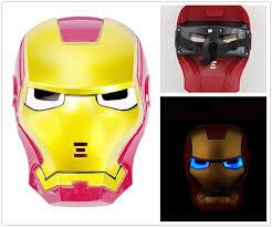 Kids Light Up Halloween Costume Amazon Com Cosplay Iron Man Mask With Blue Light Up Eyes Clothing