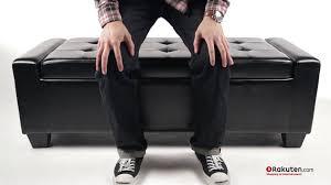 homcom faux leather storage ottoman shoe bench youtube