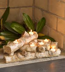 logs hearth candle holder fireplace candelabras decorate your