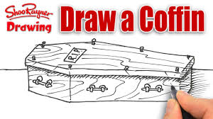 Halloween Drawings Easy How To Draw A Coffin Spoken Tutorial For Halloween Youtube