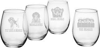 susquehanna glass beagle assortment stemless wine glass set of 4