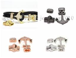 cord bracelet with charm images Zircon pave anchor lock clasp set for 3mm leather cord bracelet jpg