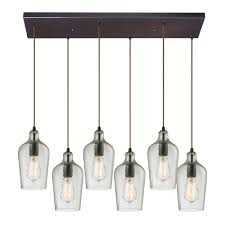 Ceiling Lighting Fixtures by Elk 10331 6rc Clr Hammered Glass Modern Oil Rubbed Bronze Multi