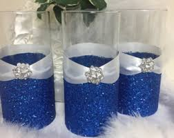 blue centerpieces royal blue wedding etsy