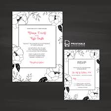 black and white floral border wedding invitation and rsvp