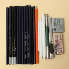 30pcs drawing sketching sketch pencil set cutter charcoal pen