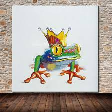 hand painted modern abstract animal frog prince canvas oil