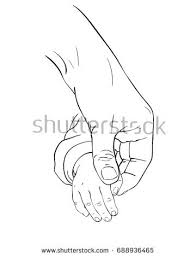 sketch walking mother daughter hand stock vector 376418911