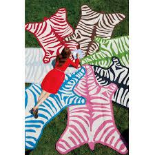 turquoise zebra peruvian llama flat weave rug 5 x 7 jonathan adler