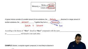 molarity molality mass percent u0026amp mole fraction clutch prep