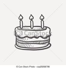eps vectors of birthday cake with candles sketch icon for web and