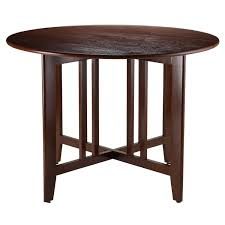 varnished wood round dining room tables with alamo double drop