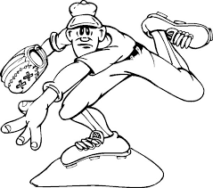 baseball cap glove and ball colouring page happy colouring