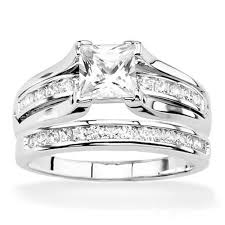 wedding band sets his and hers stlos256 arti4317 his hers 925 sterling silver princess wedding