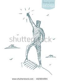 sketch person reaching star leadership opportunities stock vector