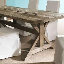 Salvaged Wood Rectangular Dining Table Natural Trestle Base - Trestle kitchen table