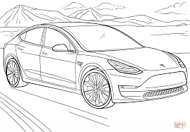 tesla model 3 coloring page free printable coloring pages