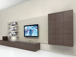 design tv on the wall ideas with unique shelves glass panels