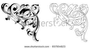 set vintage baroque ornaments corners retro stock illustration