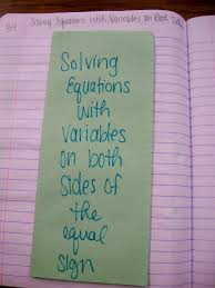 solving equations with variables on both sides of the equal sign outside of foldable