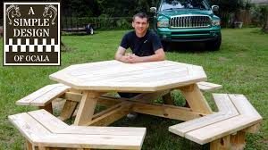 Plans For Building Picnic Table Bench by Build An Octagon Picnic Table Part 1 Youtube
