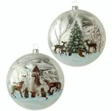 raz imports set of 2 ornaments woodland animals glass