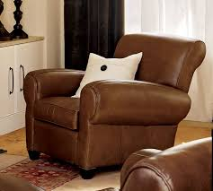 manhattan leather recliner pottery barn