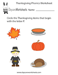 free preschool thanksgiving phonics worksheet