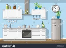 modern kitchen equipment illustration interior equipment modern kitchen stock vector