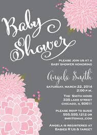 baby shower invitation gray chalkboard pink flowers modern