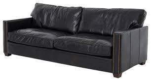 darla modern classic black leather brass tack sofa modern