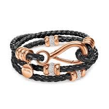 black rose bracelet images Synthesis rose gold plated black bracelet folli follie jpg