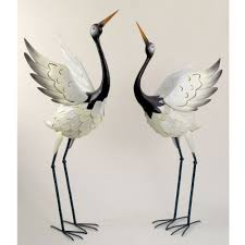 Bird Decorations For Home Amazon Com Bits And Pieces Red Crowned Cranes Metal Garden