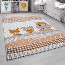 teppich f r kinderzimmer kinderteppich kinderzimmer teppich mit vogelmotiv beige braun orange
