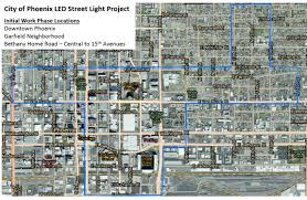 Downtown Phoenix Map by Led Street Light Conversion Project In Phoenix Begins August 14