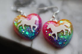 unicorn earrings unicorn neon rainbow glitter jewelry unicorn earrings