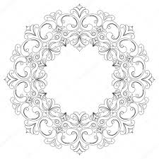 round outline frame with curls baroque decorative element for
