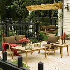 Patio Furniture Conversation Sets - siena 5 piece natural shorea patio conversation set w sunbrella