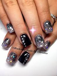 rockstar nails by christee acrylic nails formal black silver