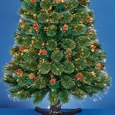 m revolving fibre optic christmas tree with berries warm white leds