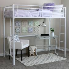 Bunk Bed Concepts Bed Bath White Metal Loft Bunk Beds With Clear Glass Top Desk
