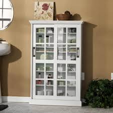 2 Door Floor Cabinet Furniture White Wooden Bathroom Cabinet With Sliding Glass Door