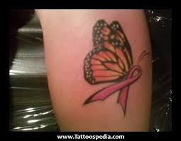 cancer ribbon butterfly tattoos