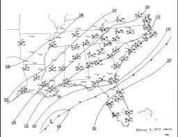 Southeast United States Map by The Great Southeastern Snowstorm February 9 11 1973